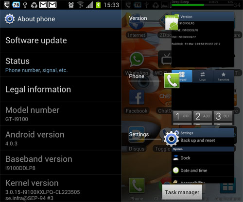Samsung Galaxy S II Android 4.0