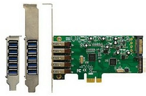 PCI плата с семью USB разъемами