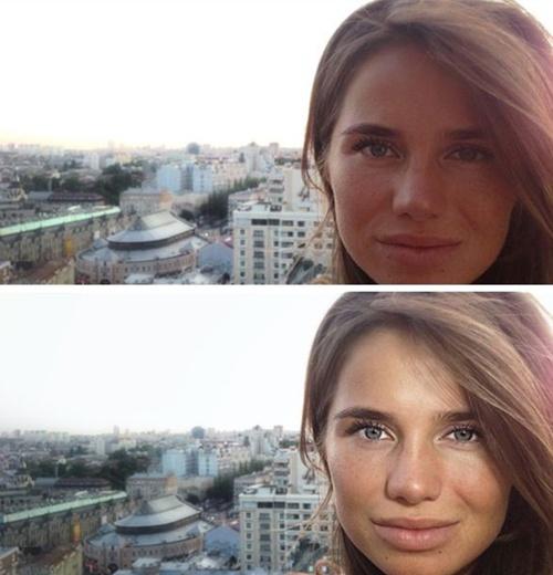 Снимок при помощи камеры iPhone 5 со вспышкой iblazr (внизу) и без.