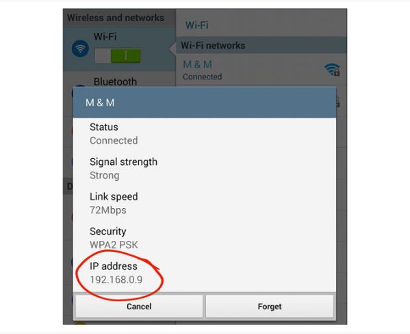 WiFi connection details