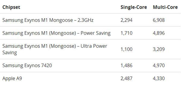 Результат тестирования процессора Samsung Mongoose в GeekBench
