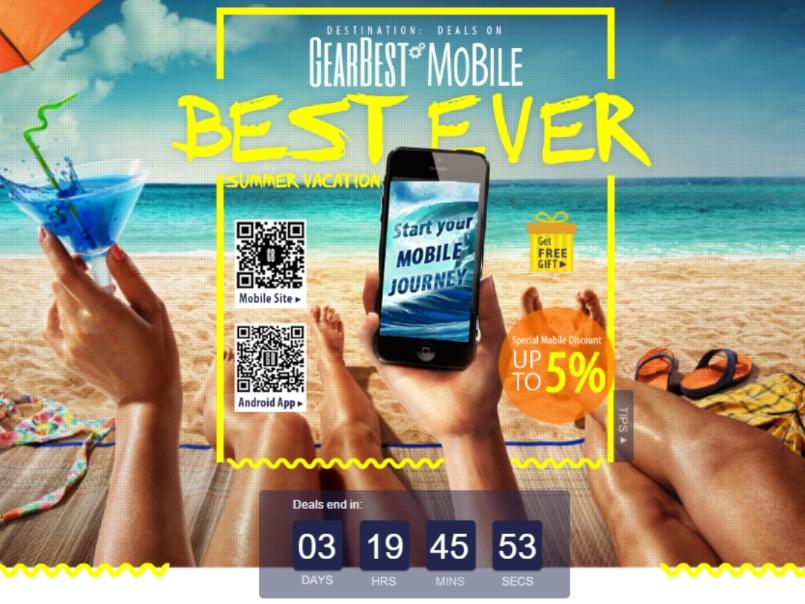 5-процентная скидка на любой товар от Gearbest в мобильном приложении