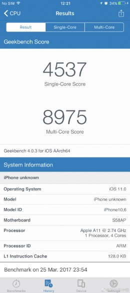 geekbench iphone8
