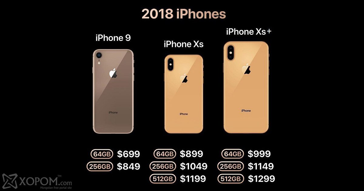Цены на Apple iPhone 9, iPhone XC